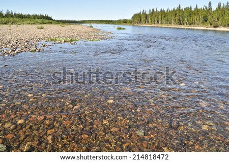 Pebble river bed. River Polar Urals on a Sunny summer day. - stock photo