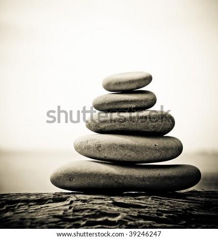 Pebble stack, shallow focus - stock photo