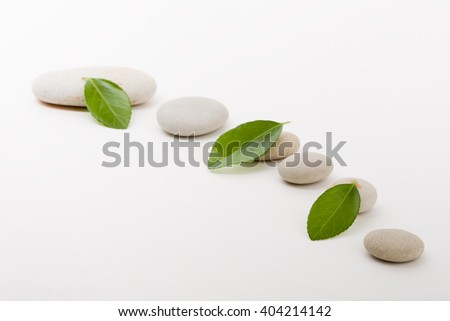 pebble stones and green leaf, like ZEN stone, spa tranquil scene concept - stock photo