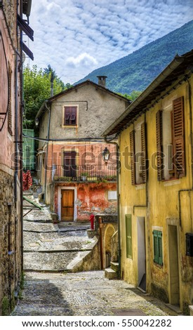 Pebbled Street in the Village of Saorge, Alpes-Maritimes, Provence, France