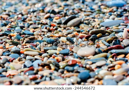 pebbles of different colors on the beach closeup - stock photo