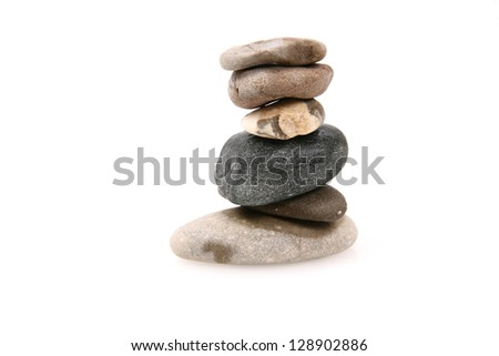 pebbles on white - stock photo