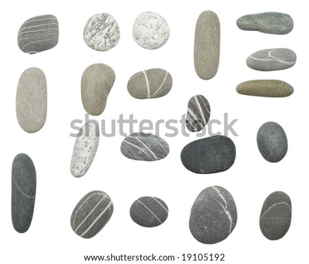 pebbles stones on white background (series) - stock photo