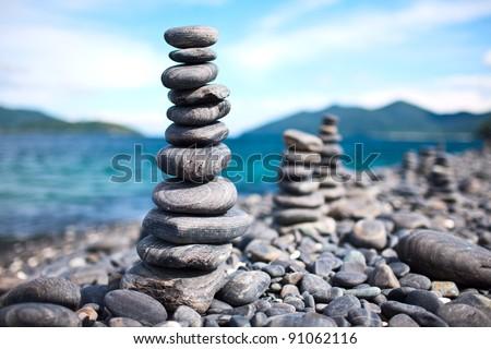Pebbles tower Zen and balance - stock photo