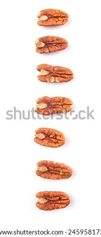 Pecan nut over white background - stock photo