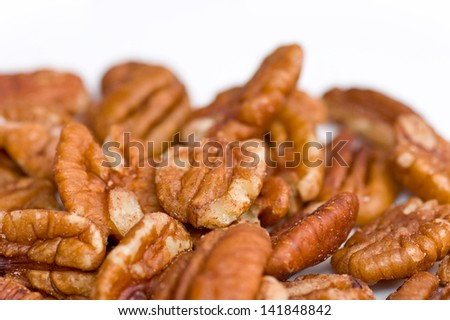 Pecan nuts isolated - stock photo