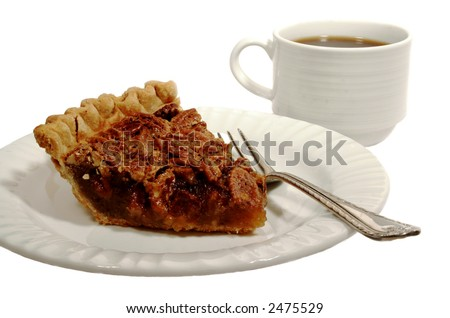 Pecan pie with a golden brown crust with a cup of coffee isolated on white. - stock photo