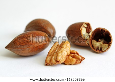 Pecans shelled and cracked - stock photo