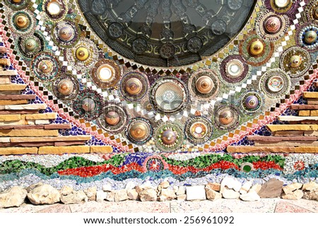PECHABOON-THAILAND-JANUARY 17 : Decoration mosaic on the wall in temple at wat Khow sornkhew on January 17,2015 Pechaboon Province, Thailand.