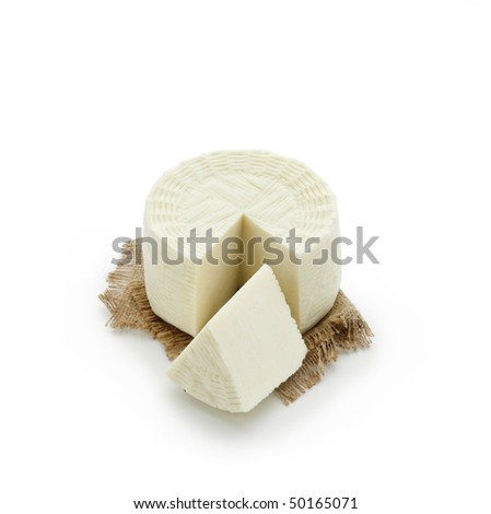Pecorino - sheep chees, sliced on white background - With path - stock photo