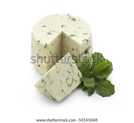 Pecorino - sheep chees with rucola sliced on white background - With path - stock photo
