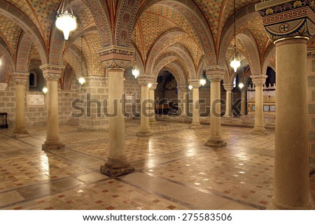 PECS, HUNGARY - AUGUST 14: Crypt of the Cathedral from the Middle Ages of Pecs on August 14, 2012. Pecs is the fifth largest city of Hungary, it is the administrative centre of Baranya county.