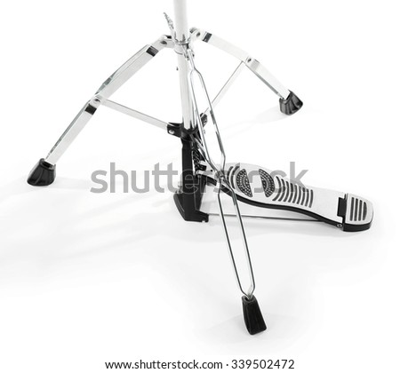 Pedal of golden drum isolated on white background, close up - stock photo