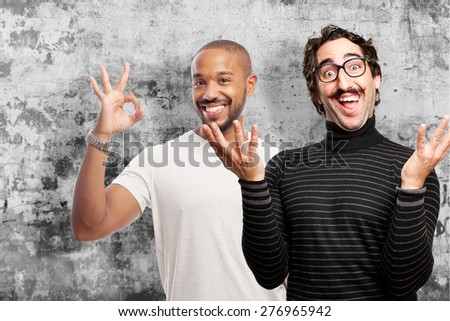 pedantic happy man laughing - stock photo