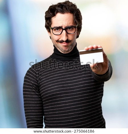 pedantic man with credit card - stock photo