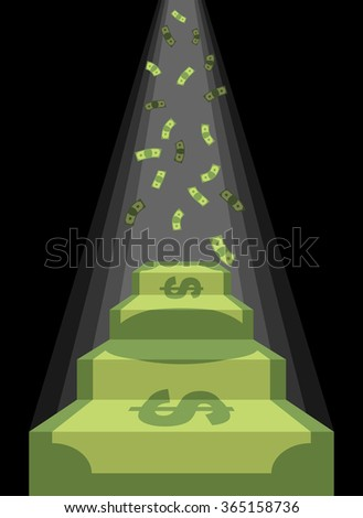 Pedestal out of money. Ladder to wealth of dollars. Rain of cash. Podium illuminated by light. Business illustration metaphor. Achieving wealth and luxury. - stock photo