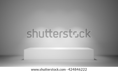 Pedestal with light sources, 3D rendering of gray studio - stock photo