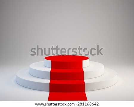 Pedestal with red carpet - stock photo