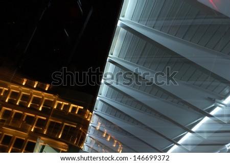 Pedestrian Bridge at Night - stock photo