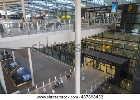 Pedestrian bridges to the levels of London Heathrow Terminal 2 - LONDON / ENGLAND - SEPTEMBER 14, 2016