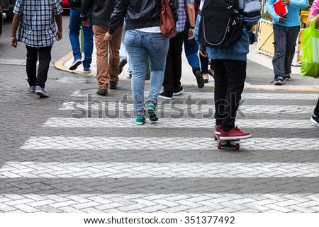 pedestrian crossing on the modern street - stock photo