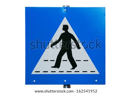 Pedestrian crossing sign close-up isolated on white - stock photo