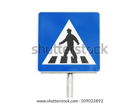 Pedestrian crossing. Square blue and white road sign isolated on white background