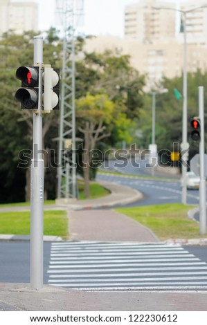 Pedestrian crossing: stop sign (the red signal of traffic lights) - stock photo