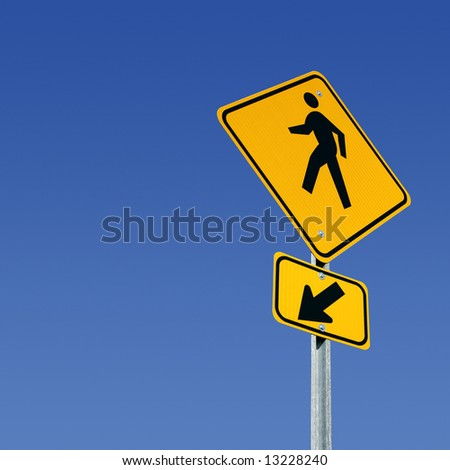 Pedestrian crossing street sign with room for copy - stock photo