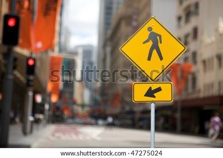 Pedestrian crossing traffic sign - stock photo