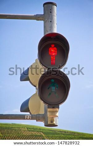 Pedestrian light, red - stock photo