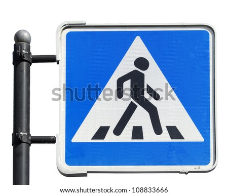 Pedestrian road sign  on white background - stock photo