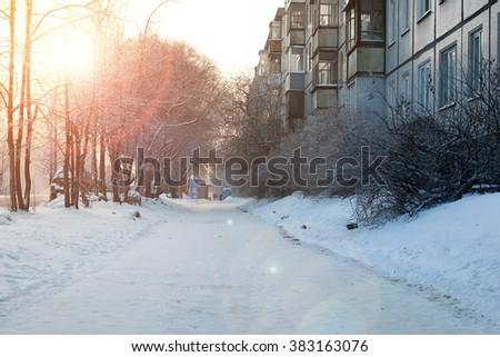 pedestrian sidewalk winter - stock photo