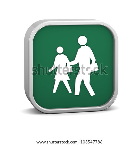 Pedestrian sign on a white background. Part of a series.