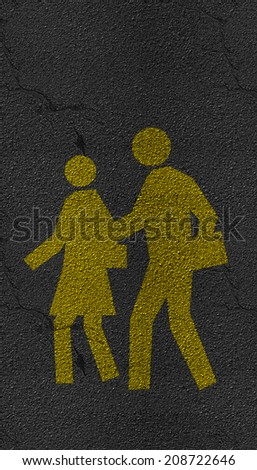Pedestrian symbol on Asphalt road texture and lines of traffic
