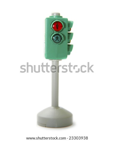 Pedestrian traffic light isolated on white background - stock photo