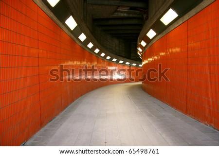 Pedestrian tunnel between ICC and Westkreuz in Berlin, Germany - stock photo