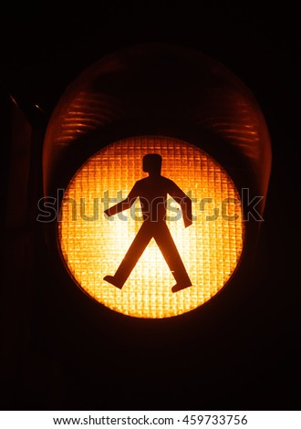 Pedestrian walking traffic light