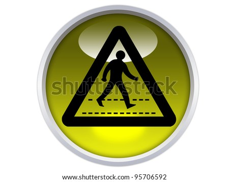 pedestrians crossing symbol on yellow glossy signage isolated over white background - stock photo
