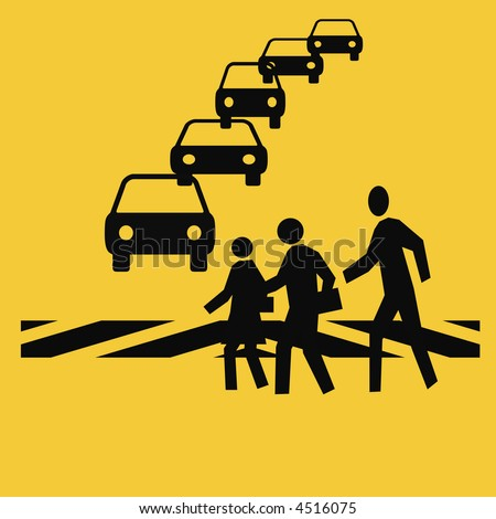 pedestrians in a crosswalk with traffic gold background - stock photo