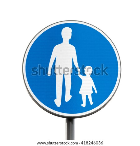 Pedestrians Only. Blue round road sign on metal pole isolated on white background - stock photo