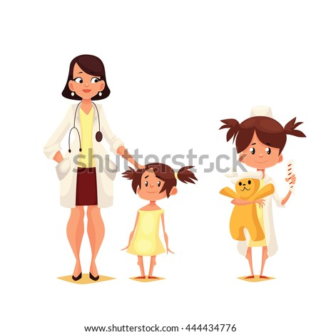 Pediatrician doctor with his patient, cartoon comic illustration isolated on white background, Dr. pediator with a small child, a child plays in the doctor holding a toy - stock photo