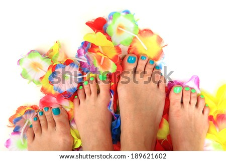 pedicure - women feet and flowers - stock photo