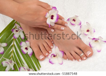 Pedicured feet manicured hands - stock photo