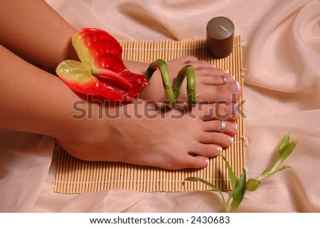 Pedicured feet, tropical flower, bamboo plant on silk cloth - stock photo