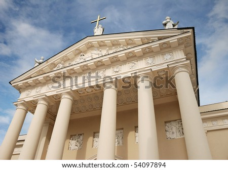 Pediment of Vilnius Cathedral in Vilnius, Lithuania.
