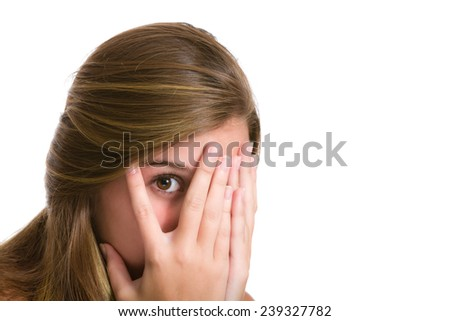Peeking - Hispanic young woman expressions. Image isolated on white with clipping path. - stock photo