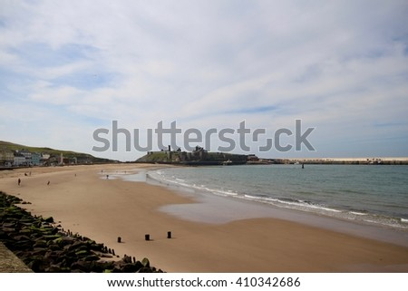 Peel Beach, Isle of Man, on a fine spring day - stock photo
