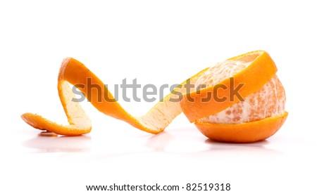 Peel of an orange isolated on white background - stock photo