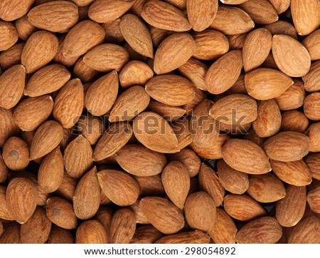 Peeled almonds closeup - stock photo